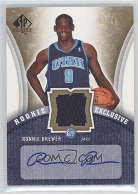 2006-07 SP Authentic Rookie Exclusive Jersey Autograph #RE-RO - Ronnie Brewer /60