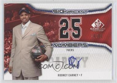 2006-07 SP Game Used Edition Significant Numbers #SN-RC - Rodney Carney /25