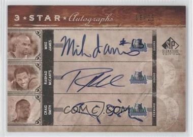 2006-07 SP Signature Edition Star Autographs Three [Autographed] #3SA-JMS - Mike James, Rashad McCants, Craig Smith /25