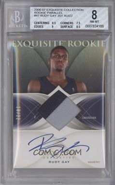 2006-07 Upper Deck Exquisite Collection Rookie Patch Autographs Gold Rainbow Parallel [Autographed] #47 - Rudy Gay /22 [BGS 8]