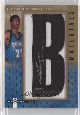 2007-08 Fleer Hot Prospects Rookie Materials Manufactured Letter Patch Autographs [Autographed] #RM-CB - Corey Brewer