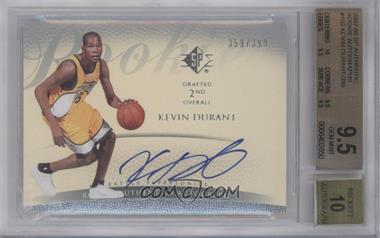 2007-08 SP - Retail Rookie Authentics Autograph - [Autographed] #152 - Kevin Durant /399 [BGS9.5]