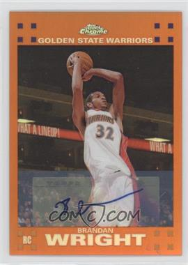 2007-08 Topps Chrome - [Base] - Orange Refractor Rookie Certified Autograph [Autographed] #158 - Brandan Wright /25