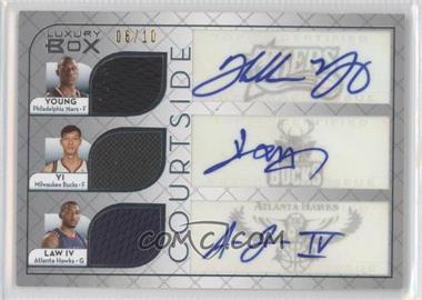 2007-08 Topps Luxury Box Courtside Triple Autograph Relics #CTARYJL - Thaddeus Young, Yi Jianlian, Acie Law /10