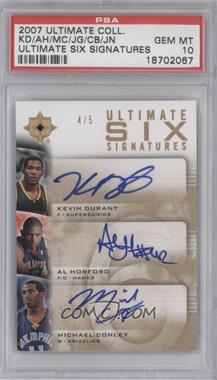 2007-08 Ultimate Collection Ultimate Six Signatures [Autographed] #UT-N/A - Kevin Durant, Jeff Green, Joakim Noah, Al Horford, Corey Brewer, Mike Conley /5 [PSA 10]