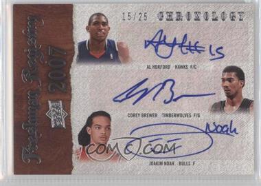 2007-08 Upper Deck Chronology - Freshman Registry Triple Autographs - [Autographed] #FR-HBN - Al Horford, Corey Brewer, Joakim Noah /25