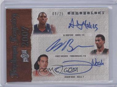 2007-08 Upper Deck Chronology Freshman Regisrty Triple Autographs [Autographed] #FR-HBN - Al Horford, Corey Brewer, Joakim Noah /25