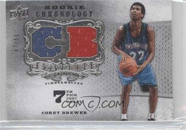 2007-08 Upper Deck Chronology Stitches in Time Memorabilia Player Initials #SIT-CB - Corey Brewer /50