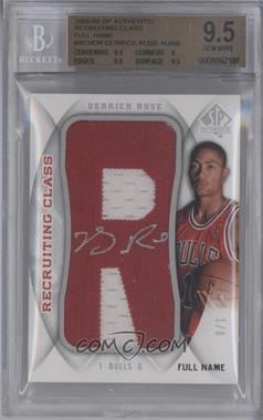 2008-09 SP Authentic Recruiting Class Manufactured Letter Patch Full Name Autograph [Autographed] #RCN-DR - Derrick Rose /6 [BGS9.5]