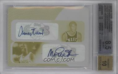 2008-09 Topps Co-Signers Dual Autographs Printing Plate Yellow #CS-WJ - Jerry West, Magic Johnson /1 [BGS 8.5]