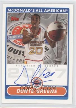 2008-09 Topps McDonald's High School Certified Autographs #DG - Donte Greene