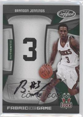 2009-10 Panini Certified Fabric of the Game Jersey Number Die-Cut Signatures [Autographed] #FOG-BJ - Brandon Jennings /25