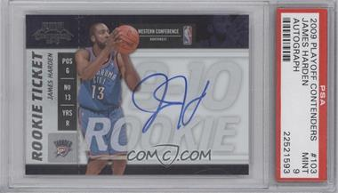 2009-10 Playoff Contenders - [Base] #103 - Rookie Ticket - James Harden [PSA9]