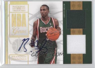 2009-10 Playoff National Treasures NBA Gear Combos Signatures [Autographed] #15 - Brandon Jennings /30