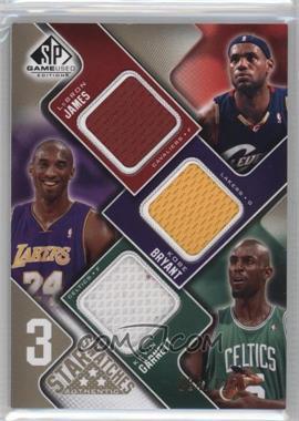 2009-10 SP Game Used - 3 Star Swatches - Level 1 #3S-BGJ - Lebron James, Kobe Bryant, Kevin Garnett /125