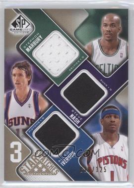 2009-10 SP Game Used - 3 Star Swatches - Level 1 #3S-NIM - Stephon Marbury, Steve Nash, Allen Iverson /125