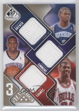 2009-10 SP Game Used - 3 Star Swatches - Level 1 #3S-TBS - Ronnie Brewer, Cedric Simmons, Tyrus Thomas /125