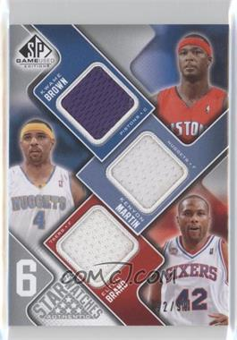 2009-10 SP Game Used - 6 Star Swatches #BMBDIO - Kwame Brown, Elton Brand, Tim Duncan, Allen Iverson, Shaquille O'Neal /99