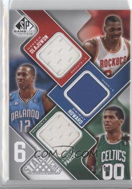 2009-10 SP Game Used - 6 Star Swatches #NJMOHP - Dirk Nowitzki, Lebron James, Tracy McGrady, Hakeem Olajuwon, Dwight Howard, Robert Parish /99