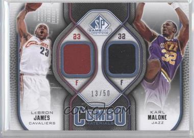2009-10 SP Game Used - Combo Materials - Level 2 #CM-MJ - Lebron James, Karl Malone /50