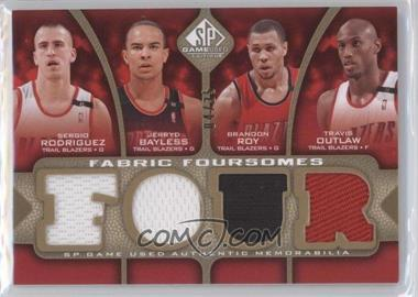 2009-10 SP Game Used - Fabric Foursomes - Level 3 #F4-ODRB - Sergio Rodriguez, Jerryd Bayless, Brandon Roy, Travis Outlaw /35