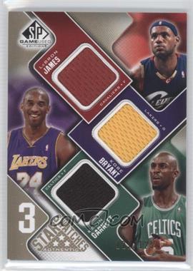2009-10 SP Game Used 3 Star Swatches Level 1 #3S-BGJ - Lebron James, Kobe Bryant, Kevin Garnett /125