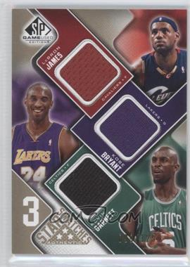 2009-10 SP Game Used 3 Star Swatches Level 1 #3S-BGJ - Lebron James, Kobe Bryant, Kevin Garnett /125