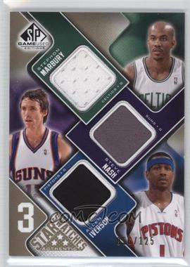 2009-10 SP Game Used 3 Star Swatches Level 1 #3S-NIM - Stephon Marbury, Steve Nash, Allen Iverson /125
