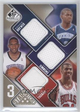 2009-10 SP Game Used 3 Star Swatches Level 1 #3S-TBS - Ronnie Brewer, Cedric Simmons, Tyrus Thomas /125