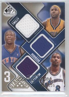 2009-10 SP Game Used 3 Star Swatches Level 1 #3S-TRC - Jamaal Tinsley, Nate Robinson, Jamal Crawford /125