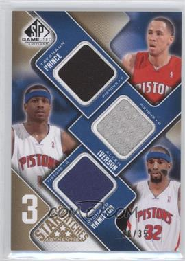 2009-10 SP Game Used 3 Star Swatches Level 3 #3S-HIP - Tayshaun Prince, Allen Iverson, Richard Hamilton /35