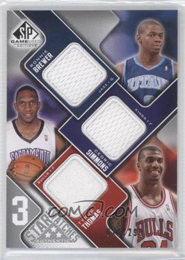 2009-10 SP Game Used 3 Star Swatches #3S-TBS - Ronnie Brewer, Cedric Simmons, Tyrus Thomas /299