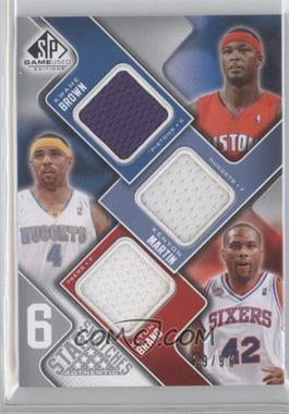 2009-10 SP Game Used 6 Star Swatches #6S-N/A - Kwame Brown, Elton Brand, Tim Duncan, Allen Iverson, Shaquille O'Neal /99