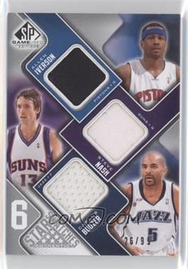2009-10 SP Game Used 6 Star Swatches #INBWMB - Allen Iverson, Steve Nash, David West, Yao Ming, Kobe Bryant, Carlos Boozer /99