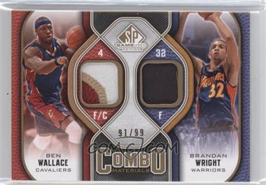 2009-10 SP Game Used Combo Materials Patch #CP-BW - Ben Wallace, Brandan Wright /99