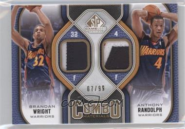 2009-10 SP Game Used Combo Materials Patch #CP-WR - Brandan Wright, Anthony Randolph /99