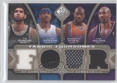 2009-10 SP Game Used Fabric Foursomes Level 1 #F4-DM10 - Tim Duncan, Allen Iverson, Shaquille O'Neal, Karl Malone /125