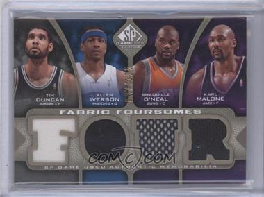 2009-10 SP Game Used Fabric Foursomes Level 1 #F4-DMIO - Tim Duncan, Allen Iverson, Shaquille O'Neal, Karl Malone /125