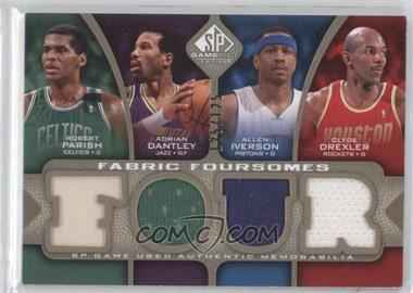 2009-10 SP Game Used Fabric Foursomes Level 1 #F4-IDPD - Adrian Dantley, Allen Iverson, Clyde Drexler, Robert Parish