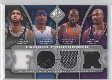 2009-10 SP Game Used Fabric Foursomes #F4-DMIO - Tim Duncan, Allen Iverson, Shaquille O'Neal, Katie Mattera /199