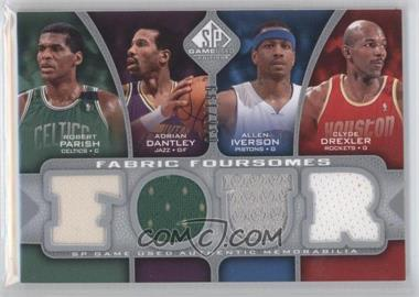 2009-10 SP Game Used Fabric Foursomes #F4-IDPD - Adrian Dantley, Allen Iverson, Clyde Drexler, Robert Parish /199