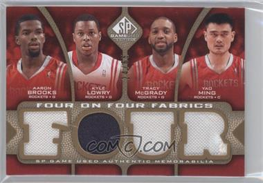2009-10 SP Game Used Four on Four Fabrics Level 1 #BLMMMGAW - Aaron Brooks, Kyle Lowry, Tracy McGrady, Tausha Mills, O.J. Mayo, Rudy Gay, Darrell Arthur, Hakim Warrick, Yao Ming /65