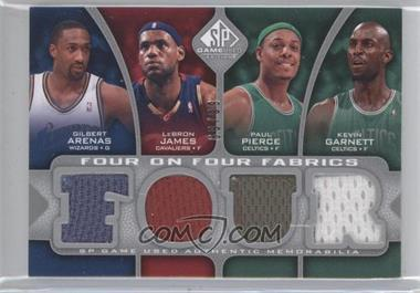 2009-10 SP Game Used Four on Four Fabrics #FF-AJPGKMBO - Gilbert Arenas, Lebron James, Paul Pierce, Jason Kidd, Tracy McGrady, Kobe Bryant, Shaquille O'Neal, Kevin Garnett /99