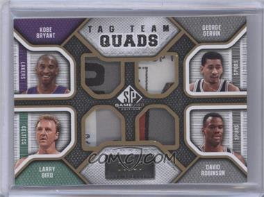 2009-10 SP Game Used Tag Team Quads #TQ-KGLD - Kobe Bryant, Larry Bird, George Gervin, David Robinson /10