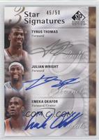 Tyrus Thomas, Julian Wright, Emeka Okafor /50