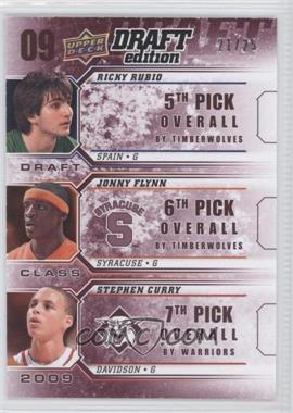 2009-10 Upper Deck Draft Edition Draft Class Red #D-RFC - Ricky Rubio, Jonny Flynn, Stephen Curry /25