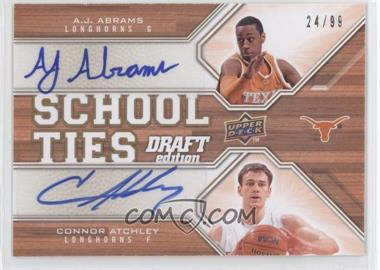 2009-10 Upper Deck Draft Edition School Ties Autographs #ST-AJ - Connor Atchley, A.J. Abrams /99