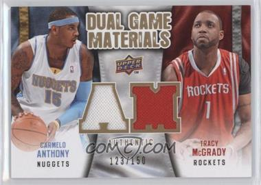 2009-10 Upper Deck Dual Game Materials Gold #DG-AT - Tracy McGrady, Carmelo Anthony /150