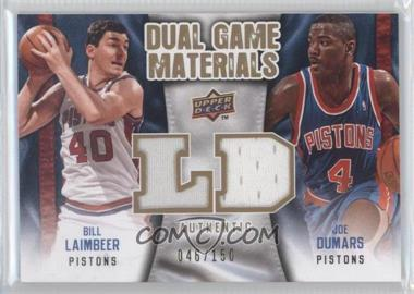 2009-10 Upper Deck Dual Game Materials Gold #DG-DL - Bill Laimbeer, Joe Dumars /150