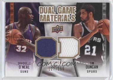 2009-10 Upper Deck Dual Game Materials Gold #DG-DO - Tim Duncan, Shaquille O'Neal /150